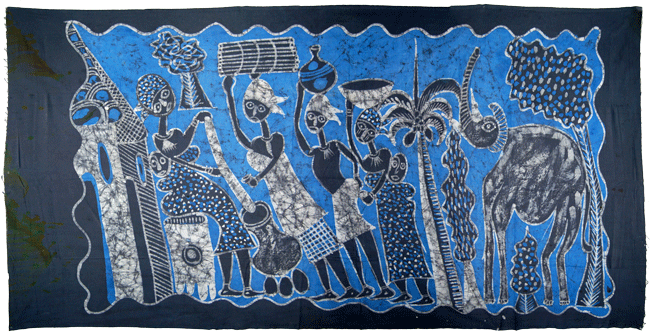 Large Batik Wall Art / African Batik Painting (~6ft)