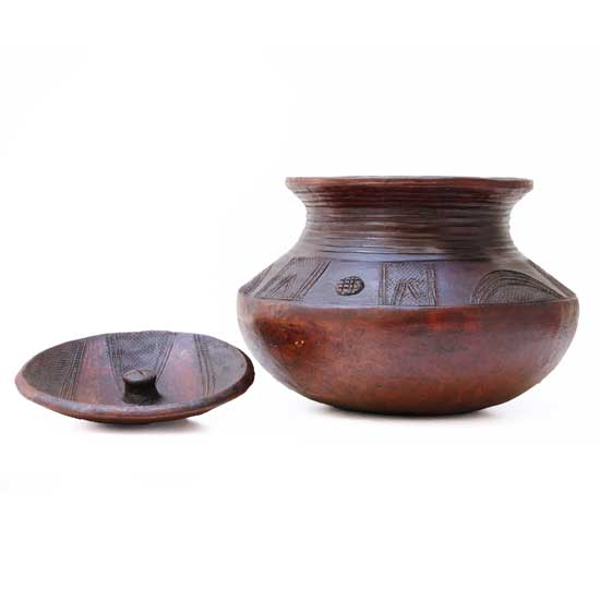 African Lidded Clay Pot
