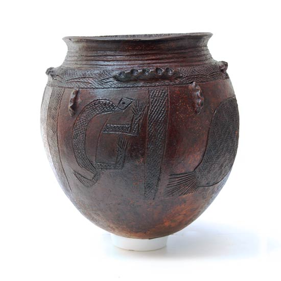 Nupe Pot – Hand-Etched with Fish & Lizard Motif