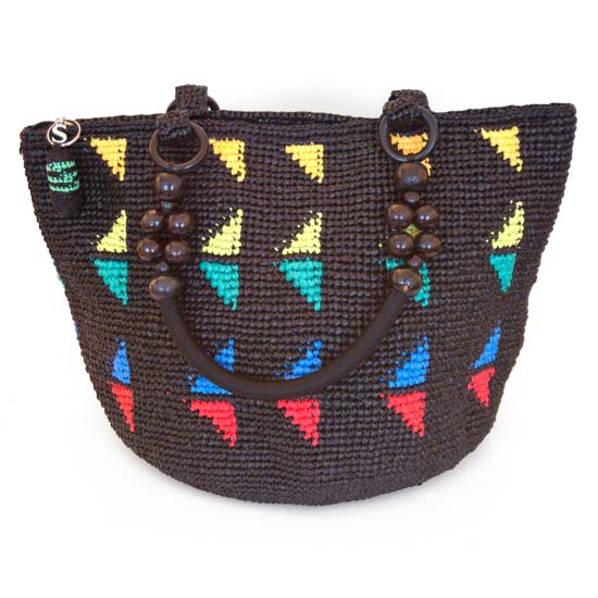 Hand-woven Upcycled Tote with Colorful Triangles