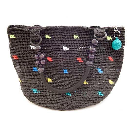 Eco-conscious Up-cycled Tote with Colorful Dots