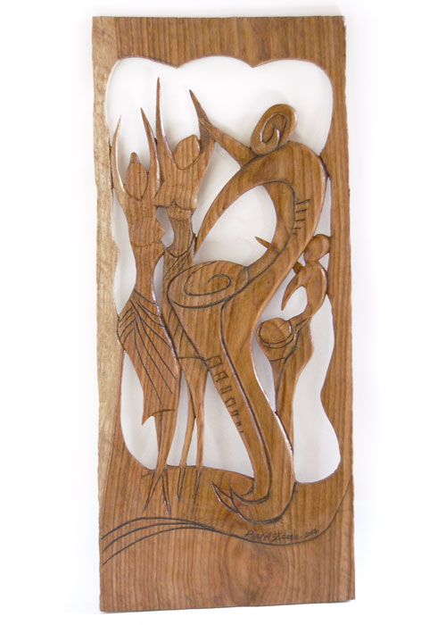 "Wall Art – Wood Sculpture ""Jubilation of the Drummer"""