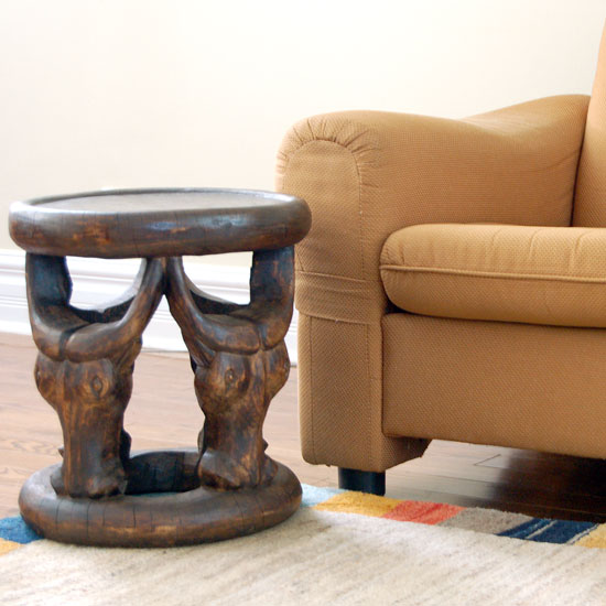 Bamileke Stool with Cattle Caryatid