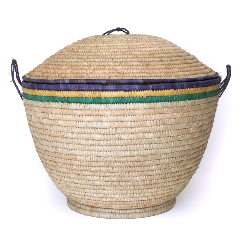 Large African Lidded Baskets – Extra Large (~25in wide)