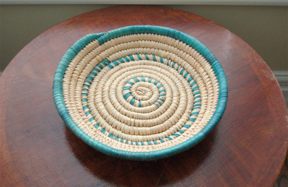 African Basket Bowl: Green Accents