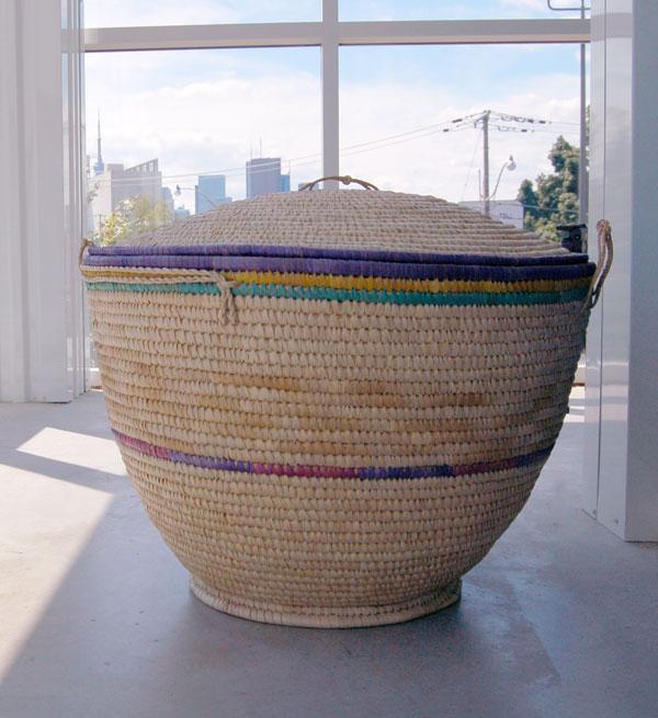 Large Lidded Natural Fiber Storage Basket – Extra Large (~23in wide)