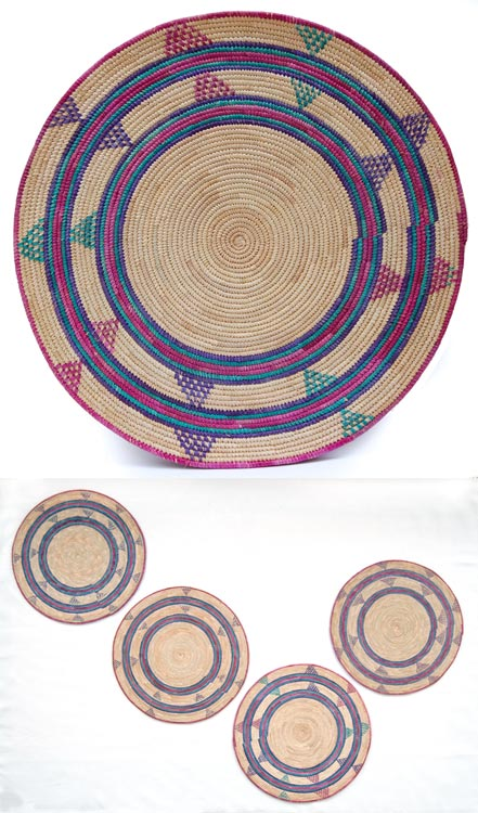 Set of 4 Colorful Flat Baskets