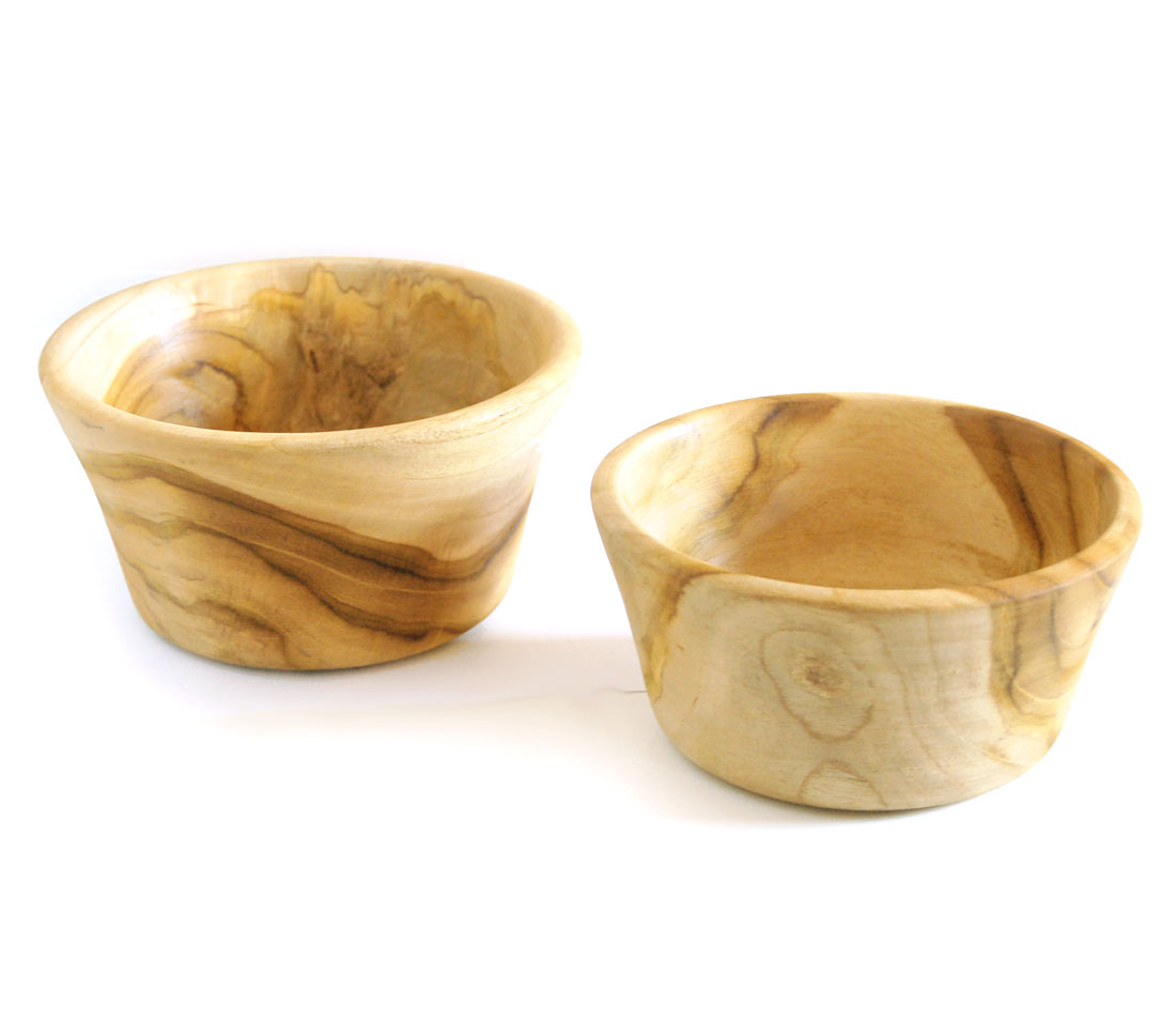 Hand-Turned Teak Bowls – Set of Two