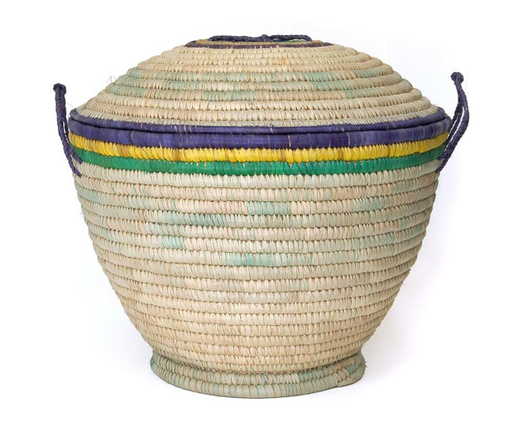African Basket with Domed Lid (~19in wide)