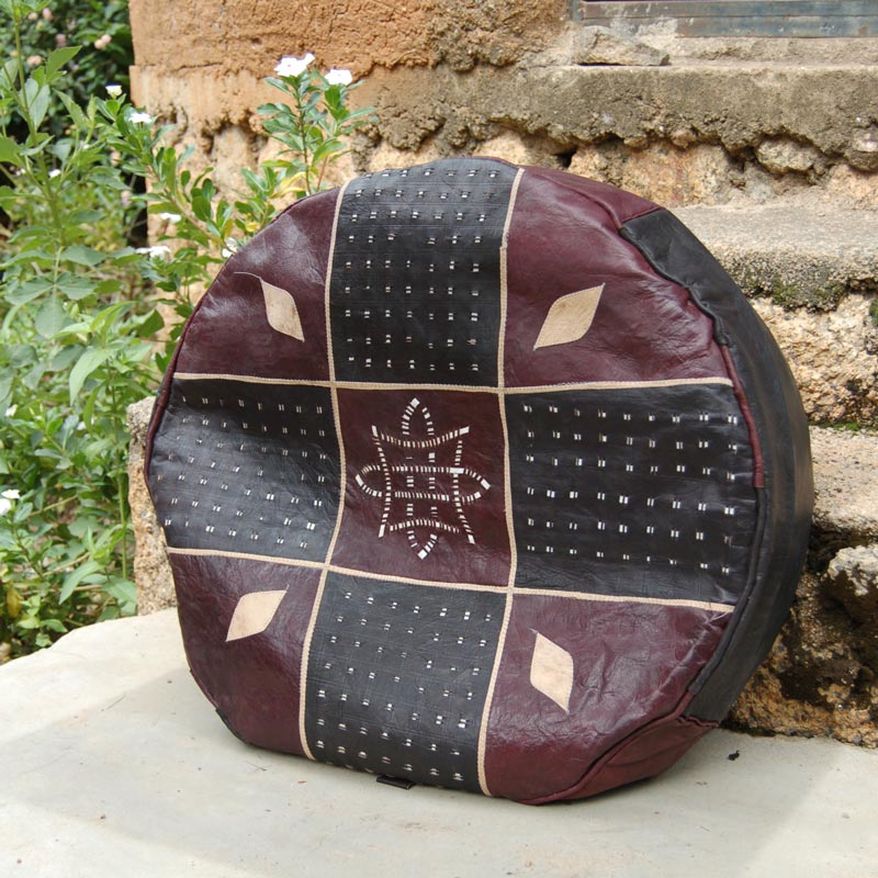 African Leather Pouf / Ottoman – Round