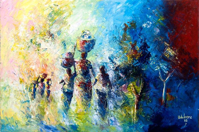 Traditional African Art Nostaligic Journey Back Home Ii