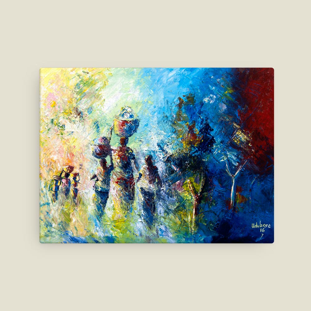 """Traditional African Art – """"Back Home II"""" (12×16 canvas print)"""