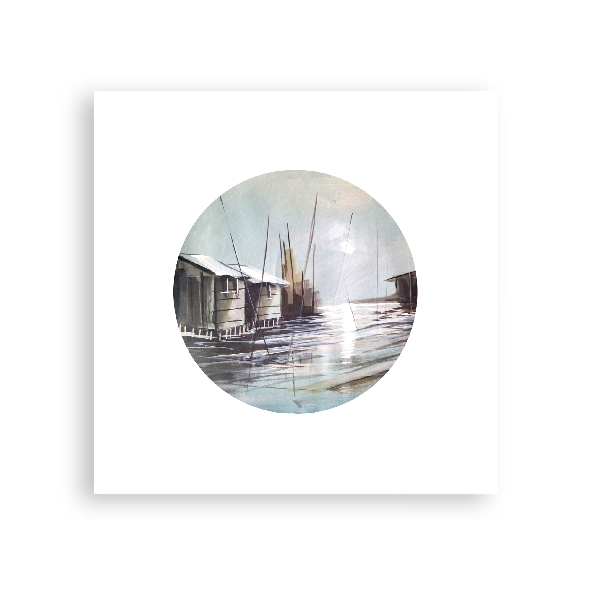 Sunrise on Water I – serene watercolor art print
