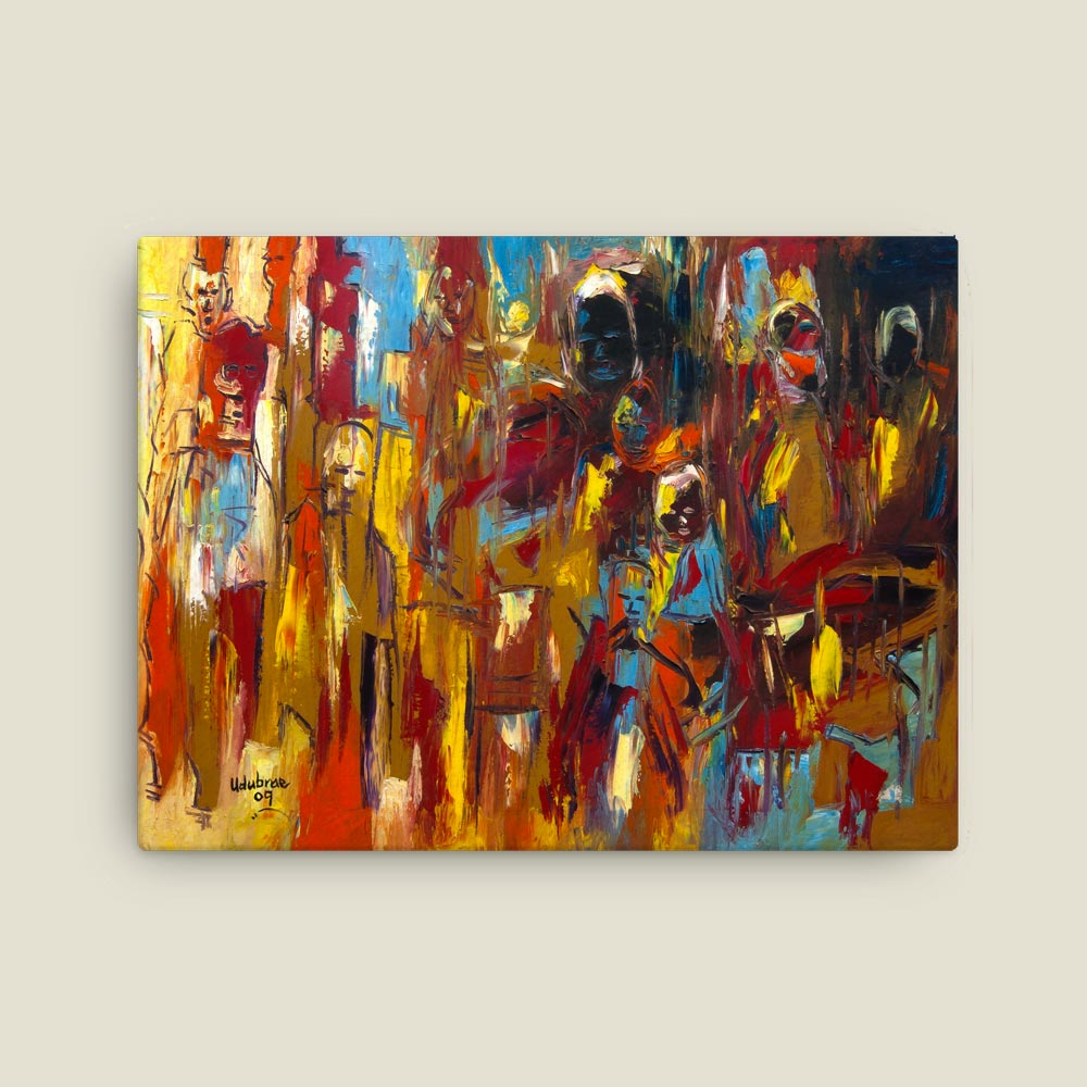 """Faces"" Abstract African Art (12×16 canvas print)"