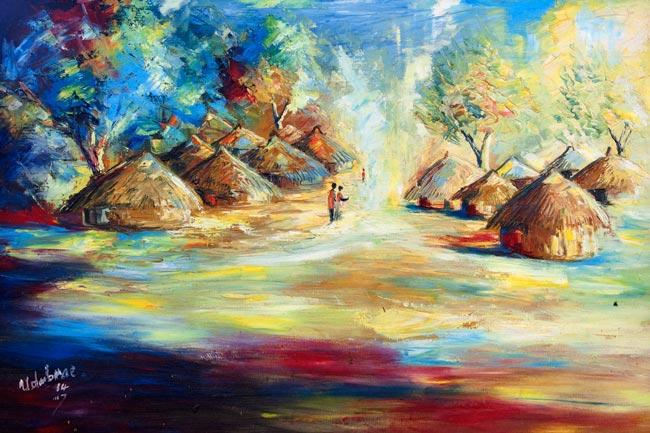 """Rural Africa – """"Village"""" (12×16 canvas print)"""