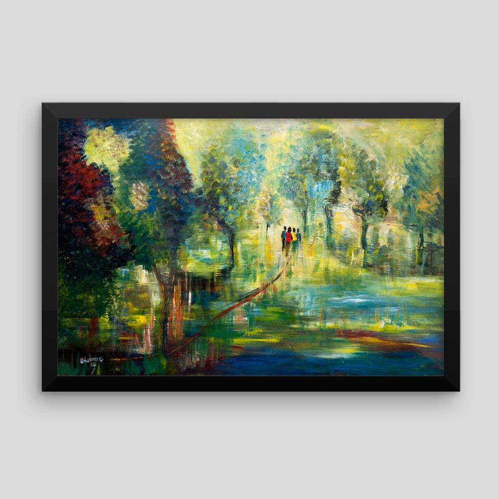 """Across the Forest"" – Traditional Africa (canvas/framed print)"
