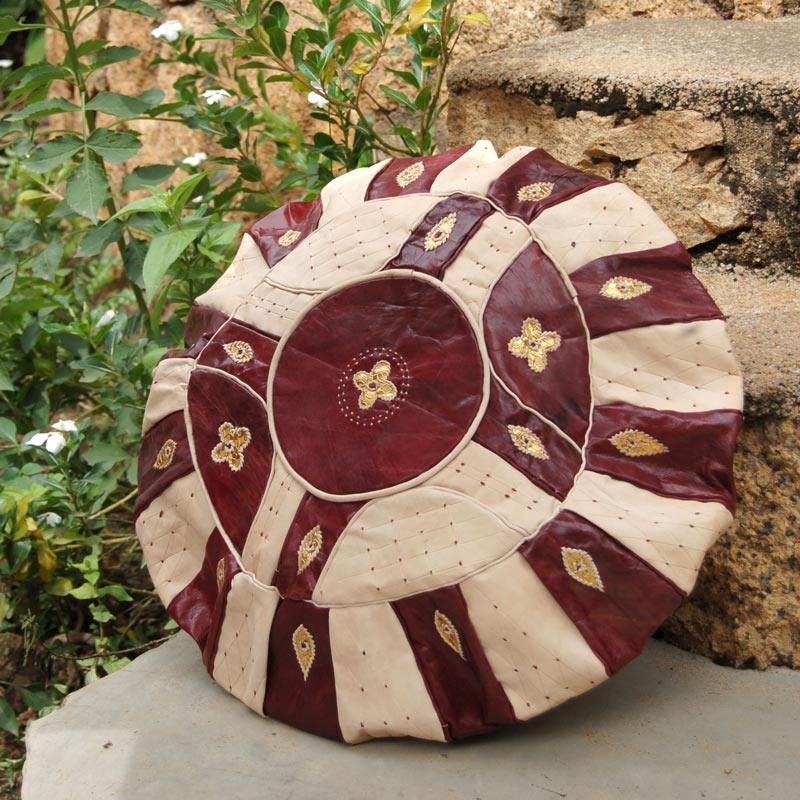African Leather Floor Pillow (Pouf) – Round
