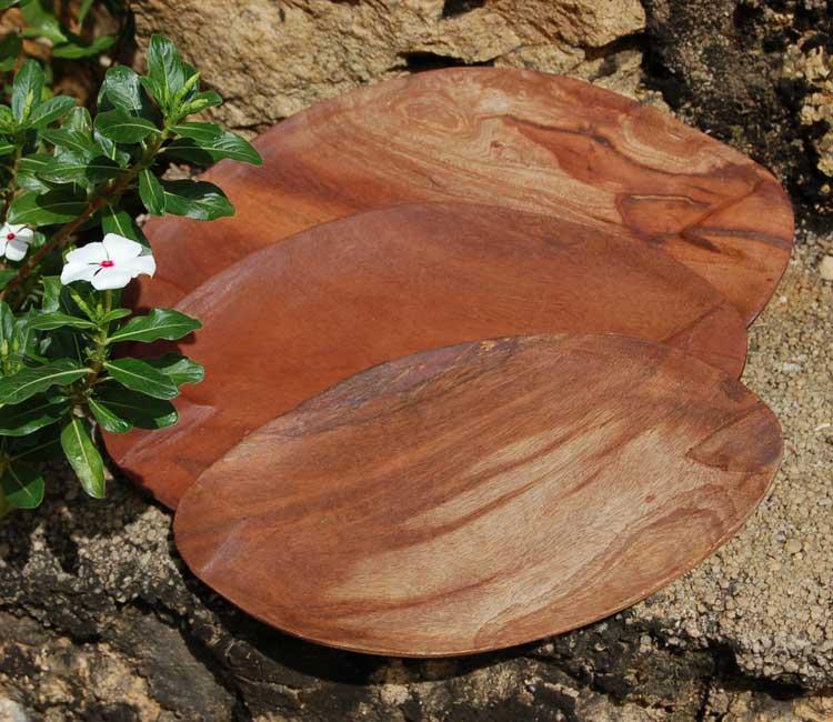 Oval Mahogany Plates / Trays (set of 3)