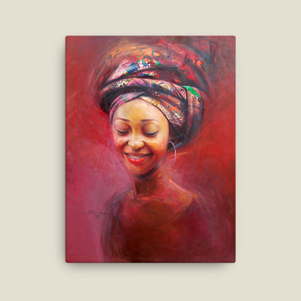 """Woman in Red"" – contemporary portrait (framed/canvas print)"