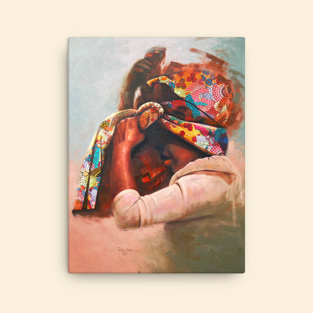 """Girl in African Print Headwrap – canvas art print"