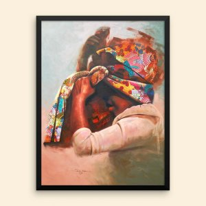 African-Art-Framed-Print-18x24_Girl-with-African-Print-Headwrap-Untitled-3_Clemspeter-Art_AfriMod