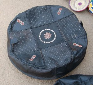 African Leather Pouf