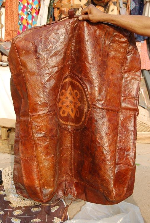 large tan rectangular hausa leather pouf - Leather Pouf