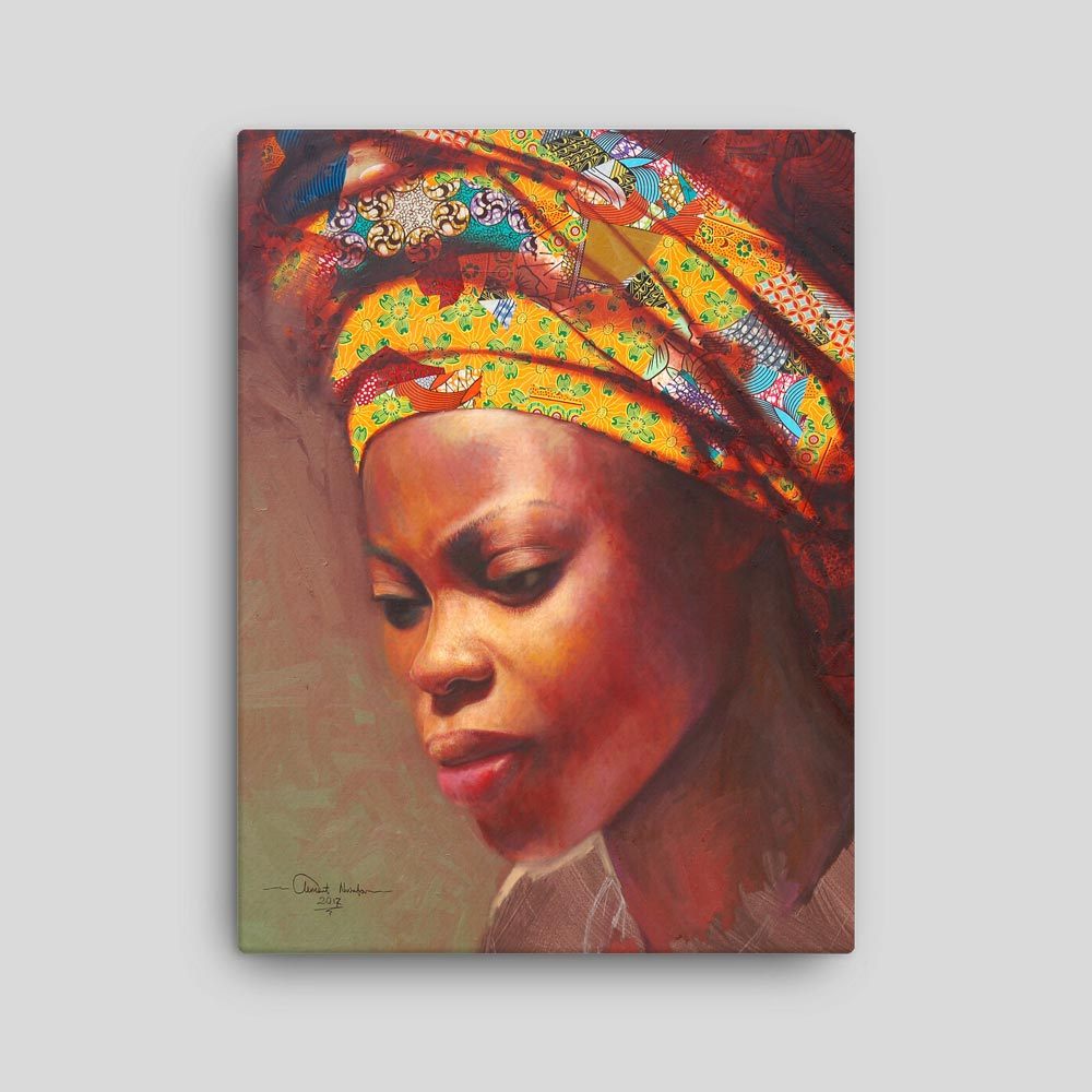 """African Fashion """"Woman in Yellow Headwrap"""" – full wrap canvas print"""