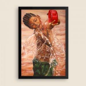 African-Art-Innocent-Bath-Framed-Print-12x18_Silas-Onoja-Visuals_AfriMod