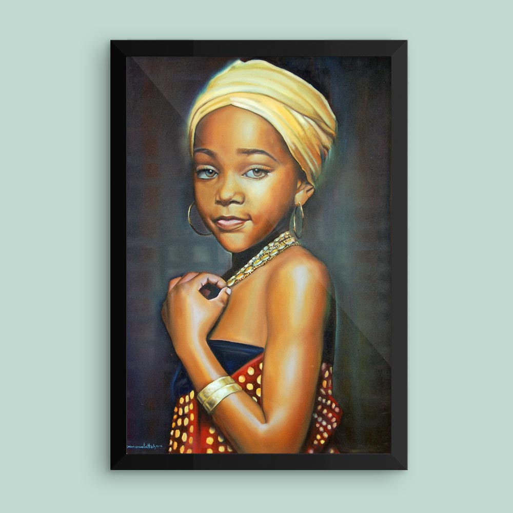 """Innocence"" – Portrait of an African Girl Child – framed print"