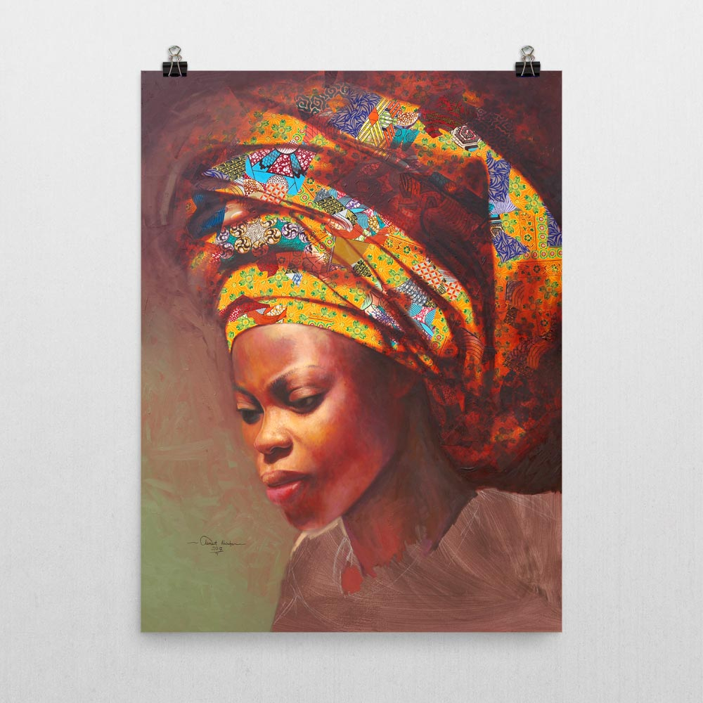 "African HeadWrap ""Woman in Yellow Headwrap"" – framed/unframed/canvas print"
