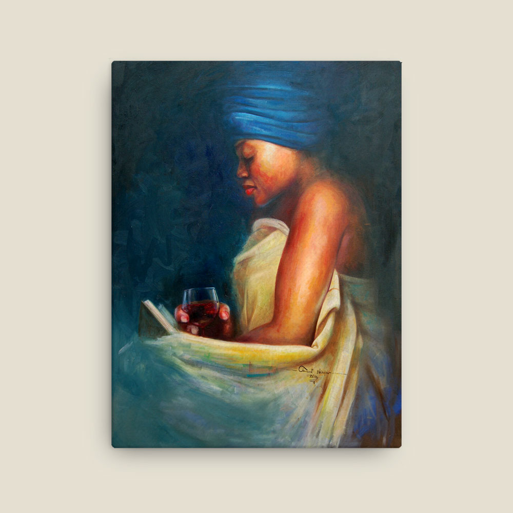 "African Woman ""The Mood"" – Contemplative African Art Print (framed or canvas)"