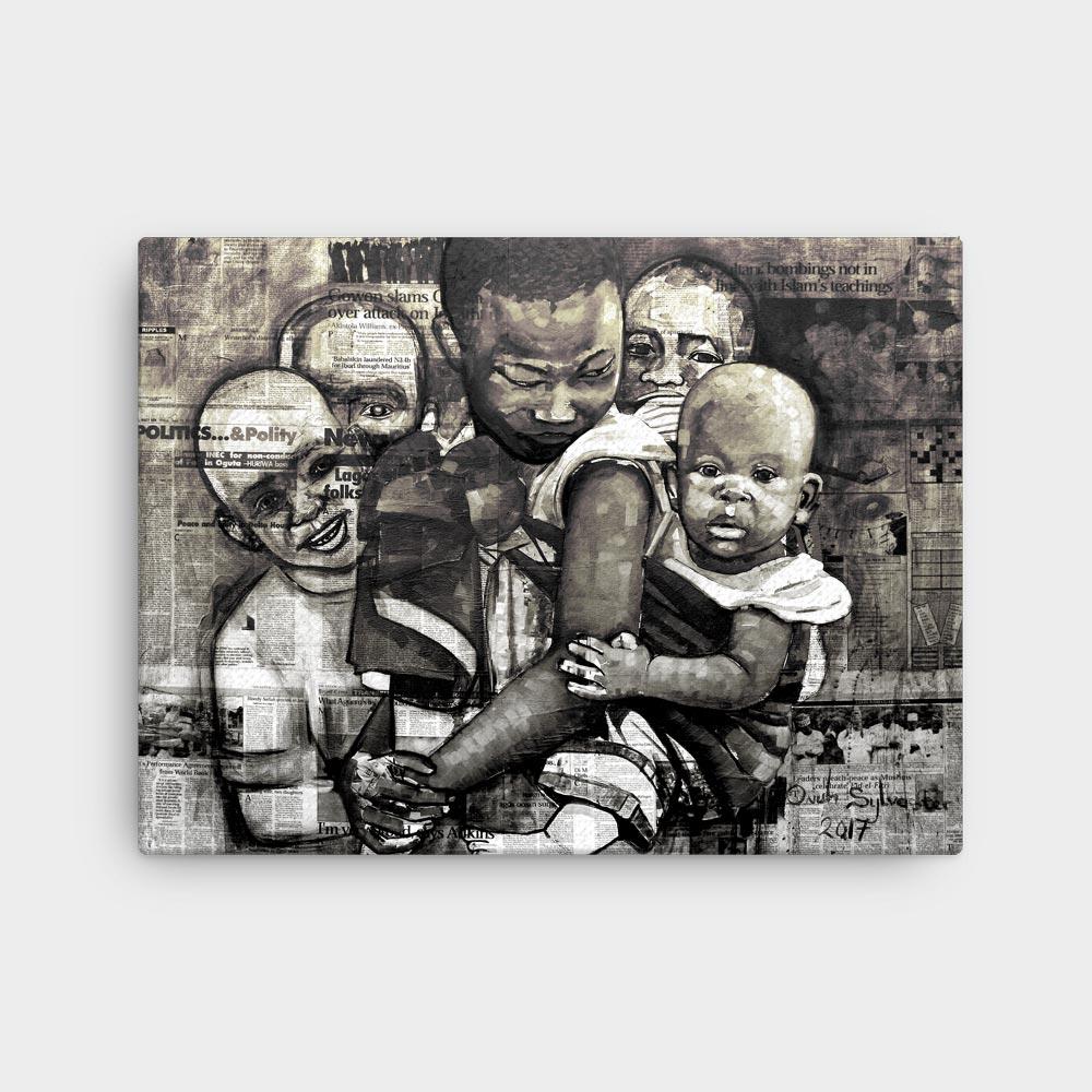 "Children of Africa ""Unaware"" (monochrome) – framed/canvas print"