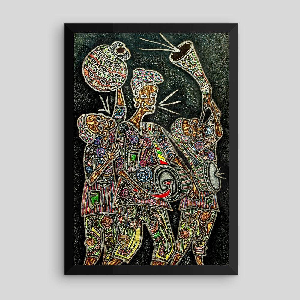 "Framed Yoruba Art Print (12×18″) – ""On the Way to Palace"""