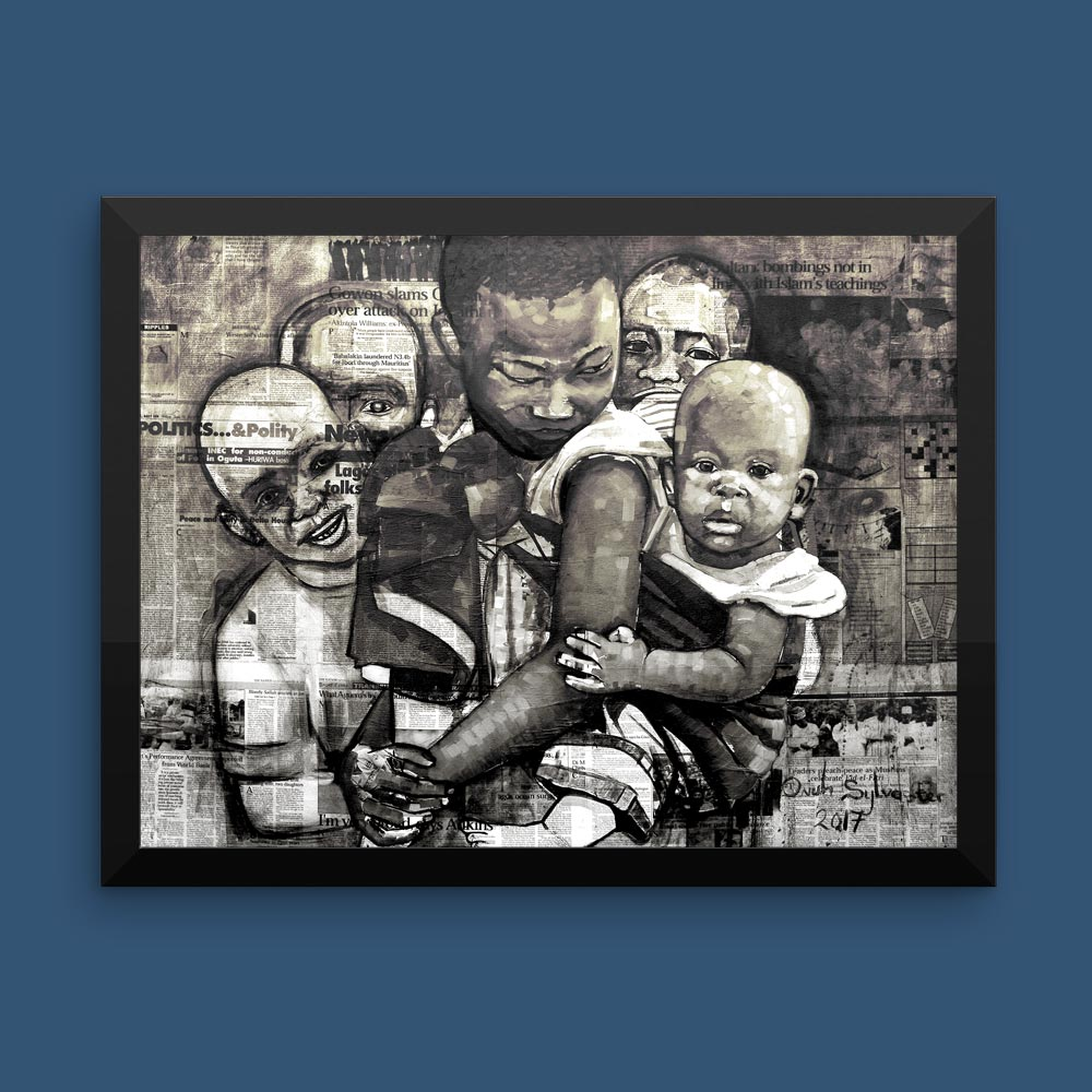 "Children of Africa ""Unaware"" (monochrome) – framed/canvas print"