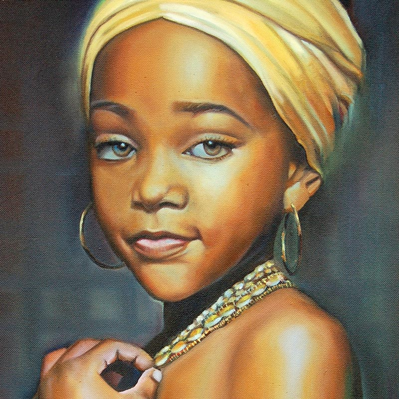 Innocence – art print of young girl with yellow headwrap