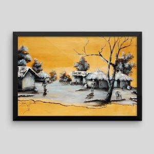 Moonlight-Village_Framed-African-Artwork_Tewasi-Jonah_AfriMod
