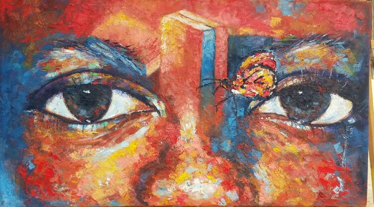 Absorbed (oil on canvas) – Contemporary African Art