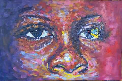 The Visit (oil on canvas) – Contemporary African Art