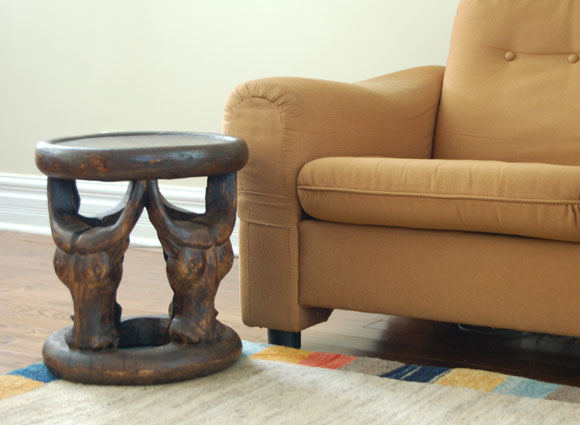 Unique West African Bamileke Stool with Cattle-Head Motif