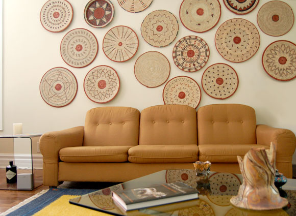 Modern Global Decor with African Flat Baskets