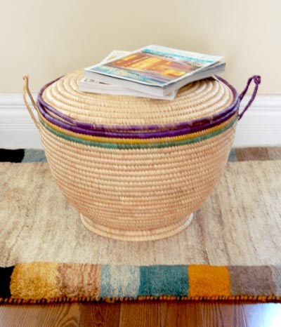 Large Lidded Natural Fiber Storage Basket
