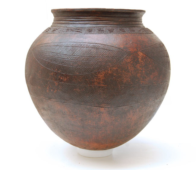 African Clay Pot with Leaf Motif (Nupe Pottery)