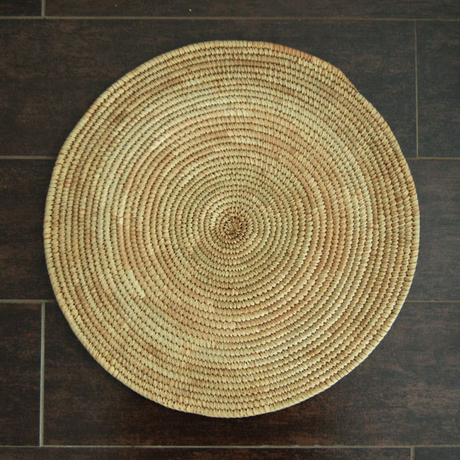 African Flat Basket – Neutral (~15in)