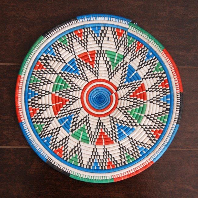 African Flat Basket – Starburst Pattern  (~12in)