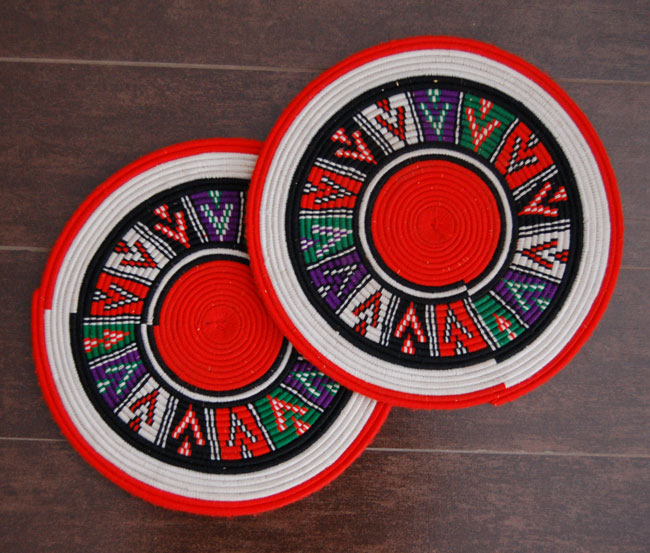African flat basket set ~ bold wall decor (~11-13in)