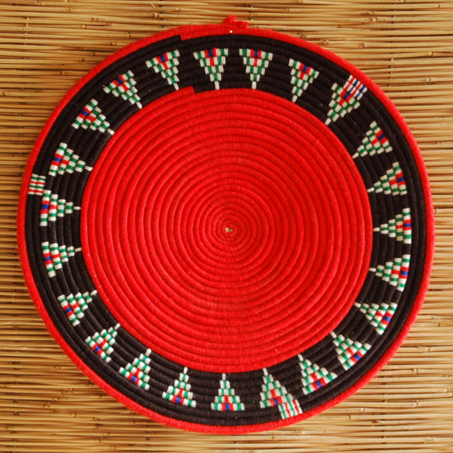 Red African flat basket (~11in)
