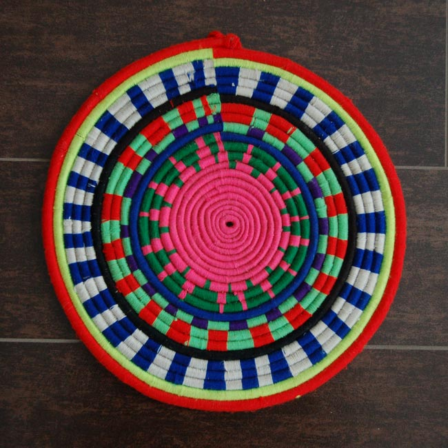 African Flat Basket – Pink Sun Design (~12in)