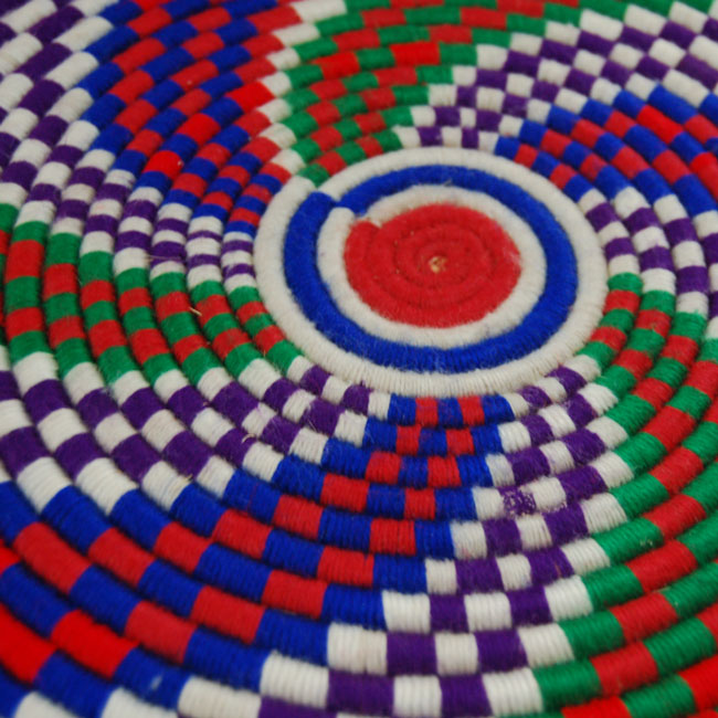 African flat basket ~ colorful candy swirls (~12in)