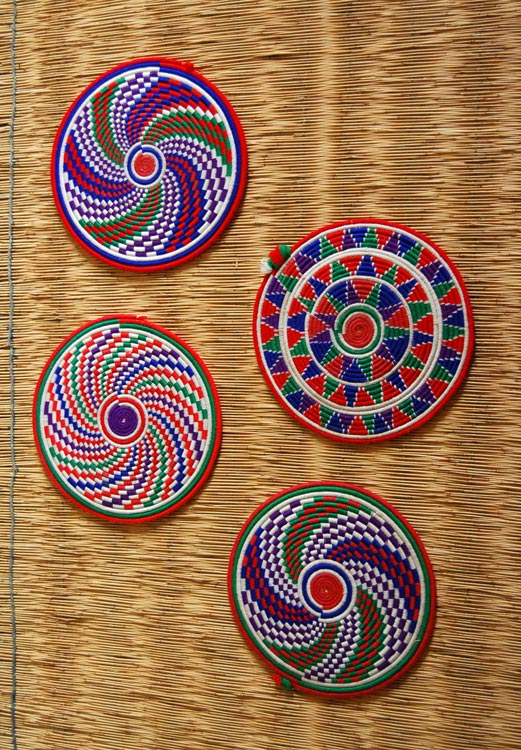 African Flat Baskets (set of 4) ~ Colorful Candy Swirls